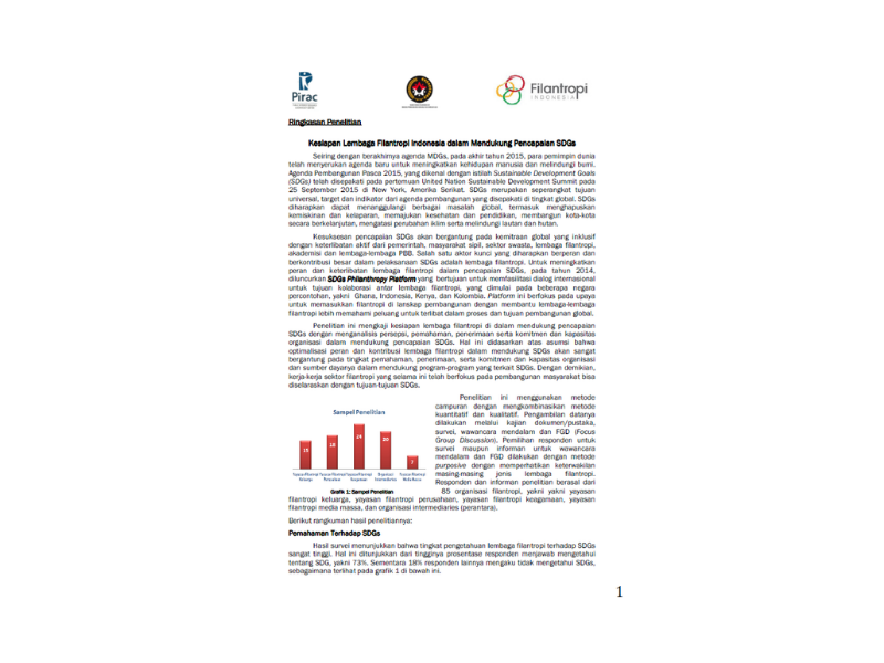 Readiness of Indonesian Philanthropic Organizations in Supporting SDGs Achievement